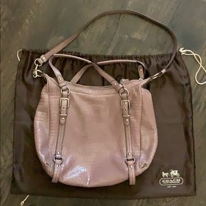 Purple Coach Alexandra crocodile large hobo bag